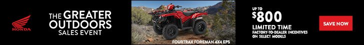 The Great Outdoors Sales Event offer on Honda Foreman