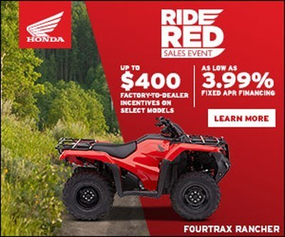 2018 Honda Rancher Ride Red Incentive Promotion